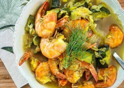 Curry de courgettes aux scampis